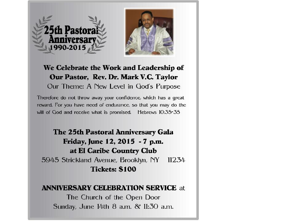 25th Pastoral Anniversary The Church Of The Open Door